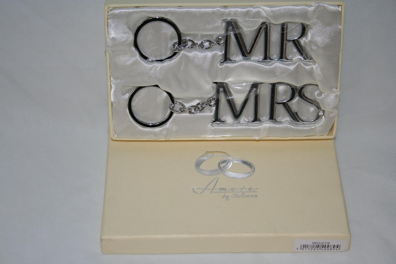 Silver Wedding Gift: Mr And Mrs Silver Key Rings Wedding Gift